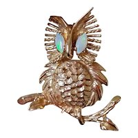 Vintage mid century 14k gold marquise shaped opal eyed owl brooch pin