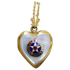 Vintage WW2 era gold filled mother of pearl heart shaped enamel U.S. Army Air Corps locket pendant necklace, military sweetheart