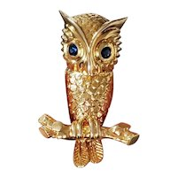 Vintage made in France mid century estate 14k, and 18K gold signed Hammerman Brothers owl with sapphire eyes brooch pin