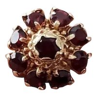 14k gold Vintage estate garnet cluster halo statement ring, size 4-3/4