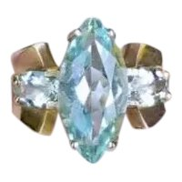 Modern estate 14k gold marquise and oval cut blue aquamarine statement ring, cocktail ring, size 5