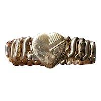 Vintage gold filled stretch expansion sweetheart bracelet signed Carmen by DF Briggs