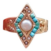 Antique Victorian 14k rose gold turquoise seed pearl and pearl navette marquise statement ring, size 7, circa 1890