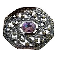 Vintage Art Deco sterling silver marcasite and purple amethyst brooch pin