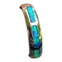 Modern estate 14k gold opal inlay stacking band ring, size 8