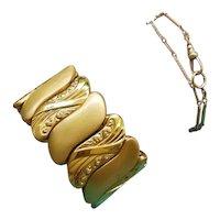 Vintage Art Deco big wide bold expansion scissors adjustable stretch cuff bracelet, gold filled, signed Bugbee & Niles Company