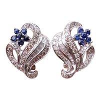 Stunning vintage estate 18k white gold diamond channel set tapered baguette and blue sapphire pierced earrings, Omega backs, 1.85 carat tw