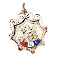 Antique Edwardian gold filled enamel FOE Fraternal Order of Eagles fob charm pendant, fraternal order, Masonic