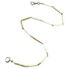 """13-1/4"""" vintage Art Deco green gold filled pocket watch vest chain with engraved elongated bar links, bracelet length, signed Hadley"""