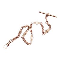 Antique Victorian rose gold filled fancy engraved bar link chunky pocket watch chain with t bar and swivel