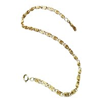 "13"" Vintage mid century gold filled wide fancy link pocket watch chain, bracelet length"