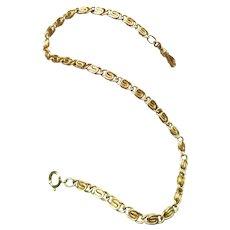 "13"" Vintage mid century gold filled wide fancy link pocket watch chain, bracelet length"