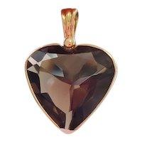 Modern 14k gold heart shaped bezel set chocolate 37 carat smoky quartz pendant
