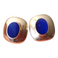Modern estate 14k gold blue lapis lazuli pierced earrings