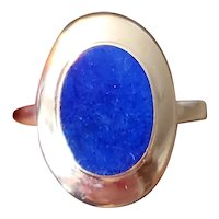 Modern estate 14k gold blue lapis lazuli ring, size 5-3/4