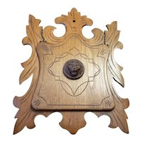 Antique Victorian solid maple wood chain hinged folding mail rack, wall plaque, lion head and hand carved detail