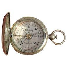 WW1 vintage Aurapole English engineer military pocket compass, militaria, Short and Mason