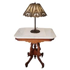 Gorgeous antique Edwardian Victorian Eastlake wood marble top side table, oak table, parlor, nightstand, night stand, NOT FREE SHIPPING