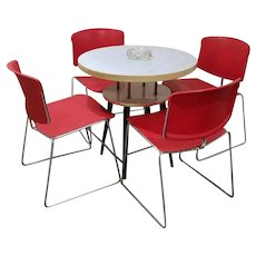 Set of 4 vintage mid century modern red chrome stacking Max Stacker Steelcase chairs, industrial 1975, pat 224824, NOT FREE SHIPPING