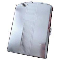 Cigarette case, Twentycase, pyrophoric lighter, Ronson chrome vintage Art Deco unused, old stock, tobacciana, smoking