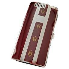 Cigarette case, Pal, pyrophoric lighter, Ronson burgundy enamel chrome vintage Art Deco unused, old stock, tobacciana, smoking