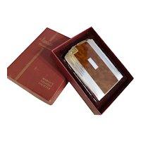 Cigarette case, Twentycase, pyrophoric lighter, Ronson brown tortoise enamel chrome vintage Art Deco unused, old stock, tobacciana, smoking