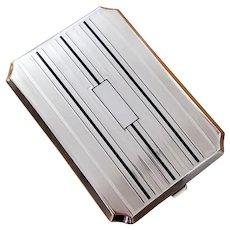 3.8 ounce Vintage Art Deco signed Elgin American black enamel sterling silver cigarette case, tobacciana, smoking, business card case