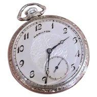 Vintage Art Deco 1938 Hamilton 12 size white gold filled dress pocket watch, model 912, 17 jewels