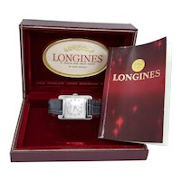 Vintage mid century 14k white gold diamond dial Longines mans wrist watch, The Coolidge, original box and booklet
