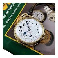 Vintage mid century 1959 Swiss Waltham Unitas 17 jewel 16 size pocket watch, gold filled, Cal 431