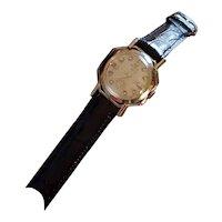Vintage mid century 14k gold Gruen 21 round octagon 17 diamond open frame wrist watch circa 1940-50