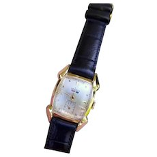Vintage mid century gold filled Benrus Citation Series Endurable Swiss tonneau wrist watch circa 1940-50, tear drop lugs