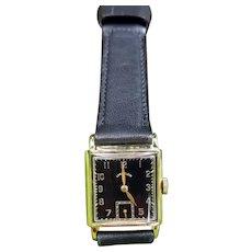 Vintage mid century 14k gold Lord Elgin black dial tank wrist watch circa 1940-50