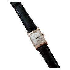 Vintage mid century 14k gold Longines diamond dial quad faceted crystal tank wrist watch circa 1940-50