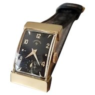 Vintage mid century 14k gold Lord Elgin hooded lugs black dial tank wrist watch circa 1940-50