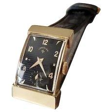 Vintage mid century 14k gold Lord Elgin hooded lugs black dial tank wrist watch circa 1940-50
