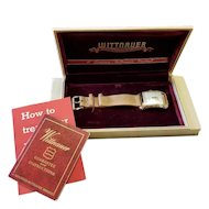 Vintage mid century 1948 gold filled Longines Wittnauer wrist watch NOS new old stock in original box with paperwork and pigskin band