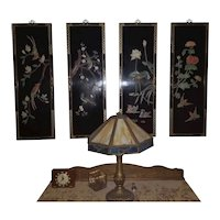 Set of 4 Asian black lacquer wall plaques, wall art, wall panels, headboard, head board, Japan, Japanese, Oriental, NOT FREE SHIPPING