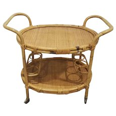 Stunning mid century bamboo and wicker rolling bar cart butler caddy table, wine rack, tropical florida, floridian, NOT FREE SHIPPING