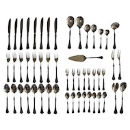 Vintage Faux Tortoise Shell Silver Plate Cutlery. 52 piece set.