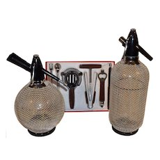 Mid Century Two Soda Seltzer Bottles with 7 pc. Barkeepers Set.