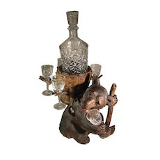 Antique Swiss Black Forest Bear Decanter with 9 Baccarat Crystal Glasses.