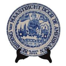Dutch Delfts Blue WW2 Memorabilia Charger Plate.