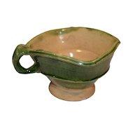 19th French Green Lead Glazed Terracotta Bowl.