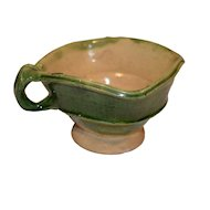 19th French Green Lead Glazed Terracotta Bowl.