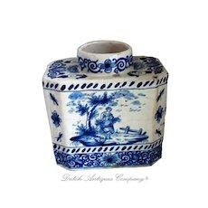 17th Delft Blue White Porcelain Tea Caddy, Delfts Blue AK