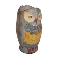 Large Hollywood Regency Majolica Owl Bird Vase / Umbrella Stand.