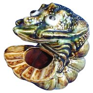 French Majolica Palissy Lobster Spoon Warmer.