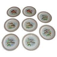 French Limoges Fish Service Set 8 Plates, Pates et émaux C.G. de limoges.