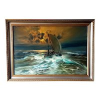 Dutch Maritime Nautical Oil painting Fisher Boat Vessel by R.Weezel.